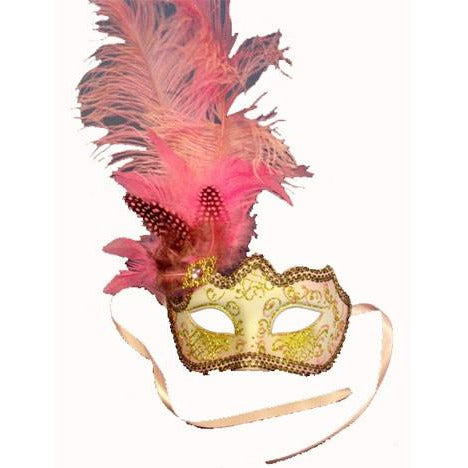 Pink Glitter Mask with Feathers
