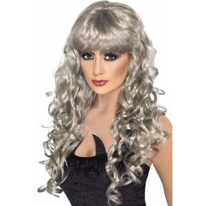 Long Curly Silver Siren Wigs With Fringe