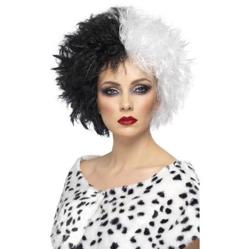 Ladies Black and White Evil Madame wig