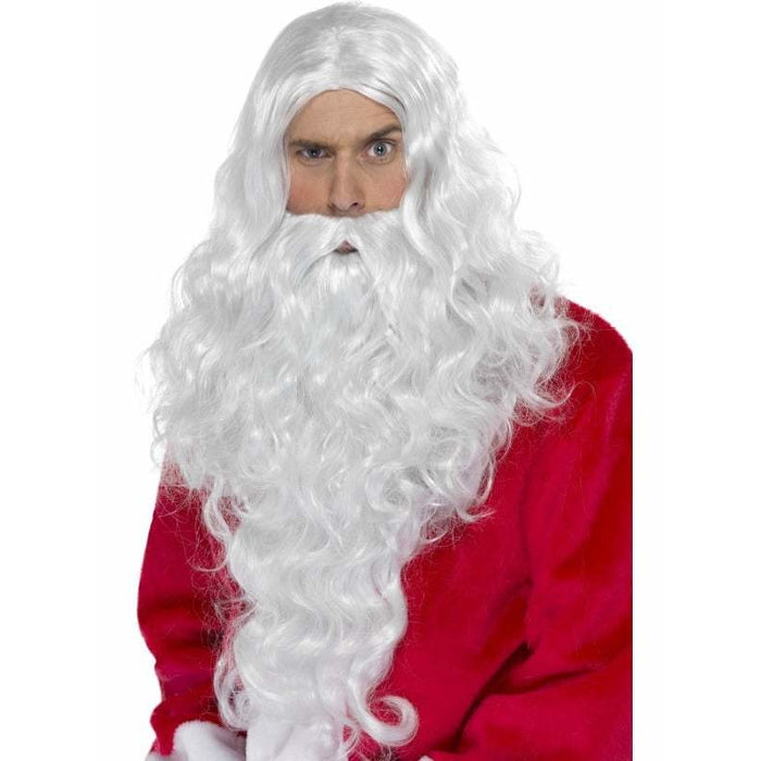 Long White Santa Wig With Beard