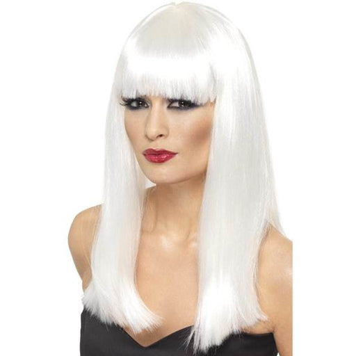 White Long Straight Wigs With Fringe