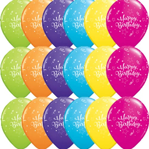 Happy Birthday Shining Star Latex Balloons x25