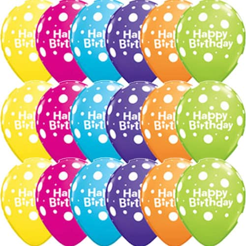 Happy Birthday Big Polka Dots Latex Balloons x25