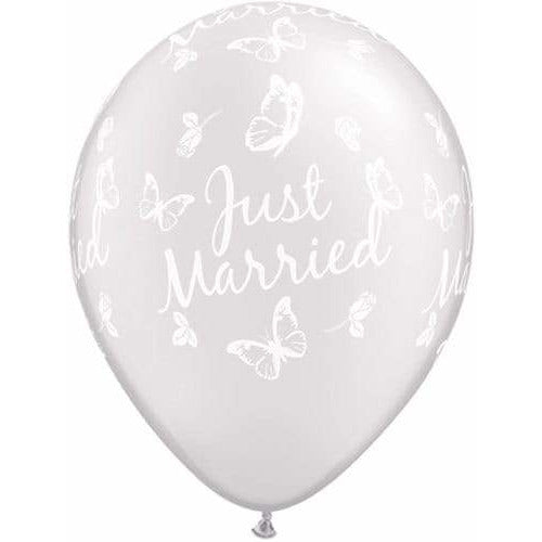 Just Married Butterflies Pearl White Latex Balloons x25
