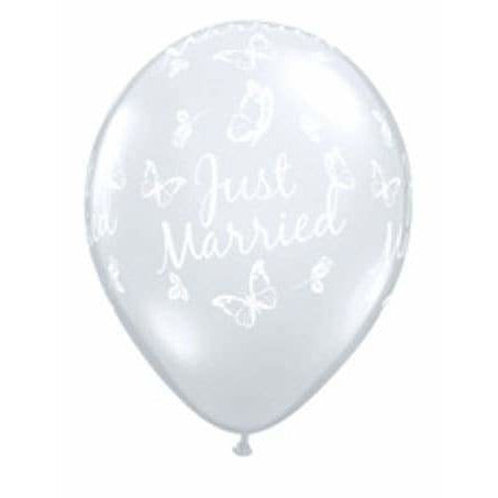 Just Married Butterflies Diamond Clear Latex Balloons x25