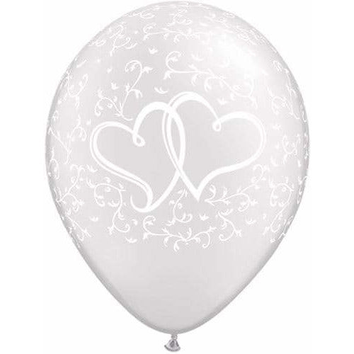 Entwined Hearts Pearl White Latex Balloons x25