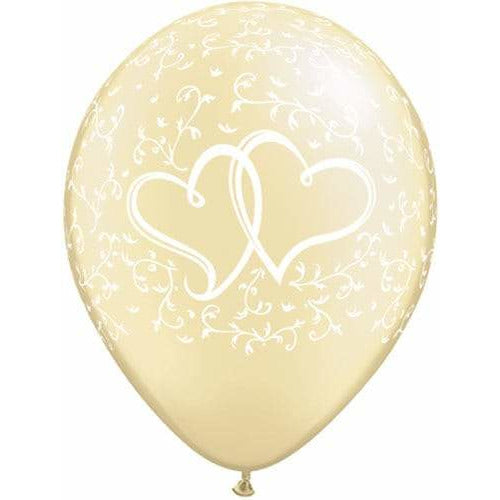 Entwined Hearts Pearl Ivory Latex Balloons x25