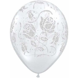 Glitter Roses Diamond Clear Latex Balloons x25