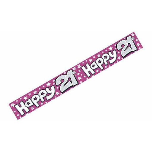 Happy 21st Pink Holographic Banners