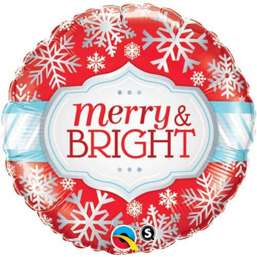 Merry And Bright Snowflakes Christmas Foil Balloon