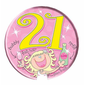 Pink 21 Party Girl Big Badge - mypartymonsterstore