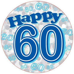 Happy 60th Blue Holographic Party Badge - mypartymonsterstore