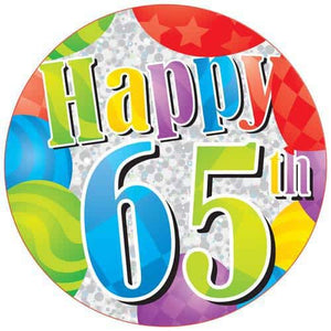 Happy 65th Party Badge - mypartymonsterstore