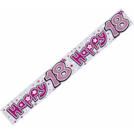 Happy 18th Pink Holographic Banners