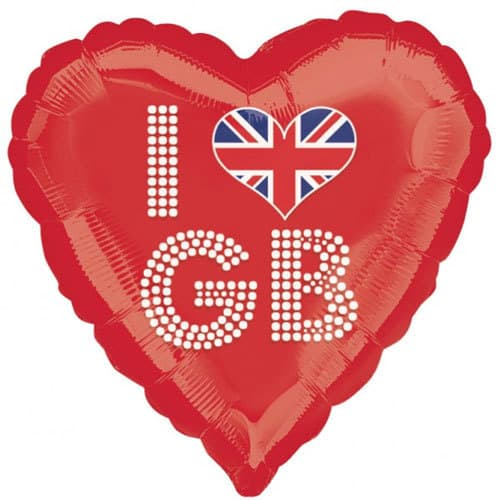 I Love GB Red Heart Foil Balloon