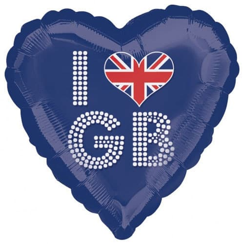 I Love GB Royal Blue Heart Foil Balloon