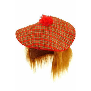 Scottish Tartan Hat With Hair and Pom Pom