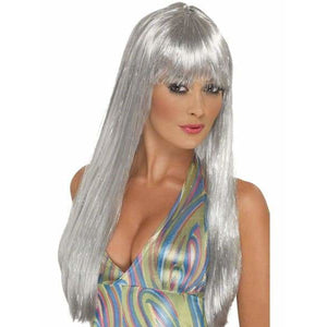 Female Silver Glitter Disco Wig