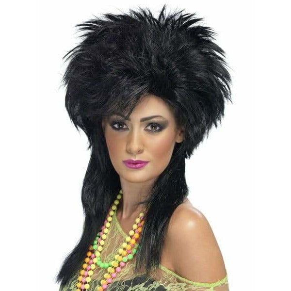 Ladies Black Groovy Punk Chick Wig