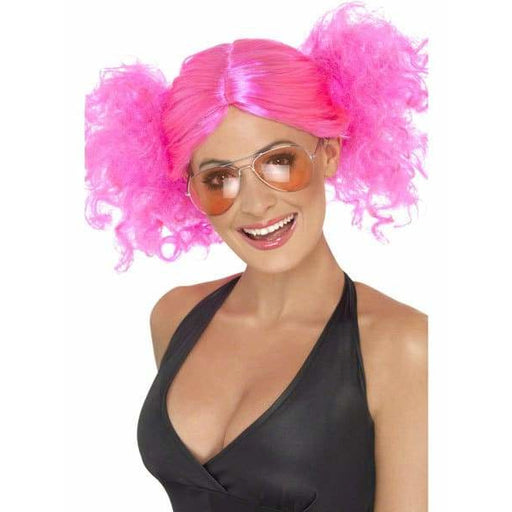 Ladies 1980s Pink Bunches Wig