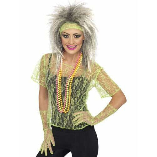Neon Green Lace Vest With Gloves and Headband