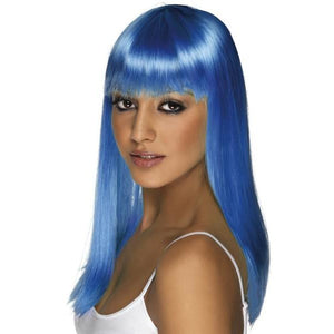 Neon Blue Long Straight Wigs With Fringe - mypartymonsterstore