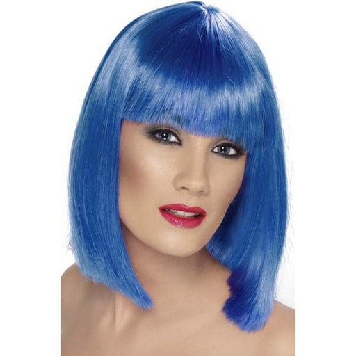 Ladies Blue Glam Wig With Fringe