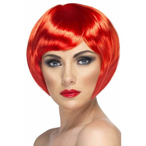 Red Short Female Babe Bob Wigs With Fringe - mypartymonsterstore