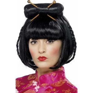 Oriental Ladies Black Wig With Chopsticks - mypartymonsterstore