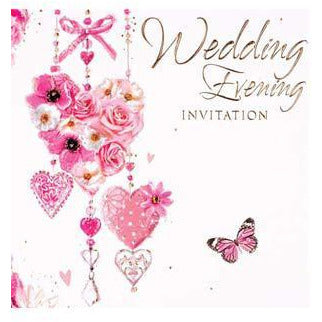 Pink Hearts Wedding Evening Card Invitations