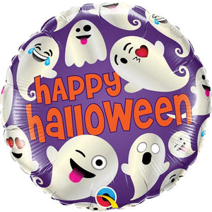 Halloween Emoticon Ghosts Foil Balloons - mypartymonsterstore