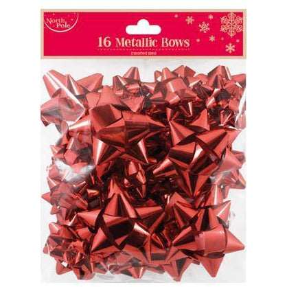 Red Metallic Gift Bows 16pk