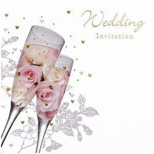Roses & Champagne Glasses Wedding Card Invitations