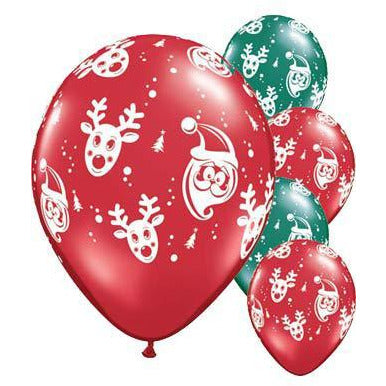 Santa And Rudolph Christmas Latex Balloons 6pk