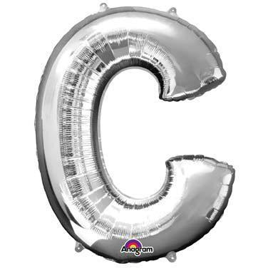 Silver Large Letter C Balloon