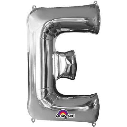 Silver Large Letter E Balloon