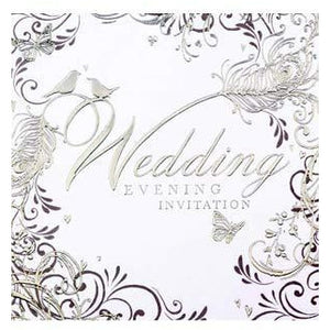 Silver Swirls Wedding Evening Card Invitations