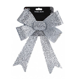 Silver Tinsel Bow