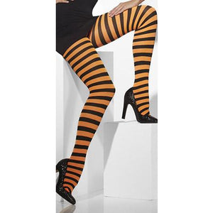 Orange And Black Striped Opaque Tights
