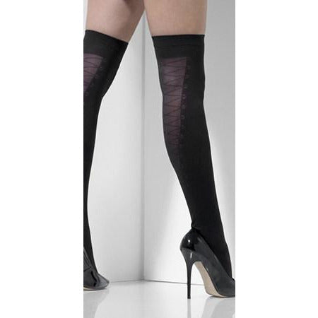 Mock Lace Opaque Hold Ups