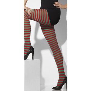 Red And Green Striped Opaque Tights