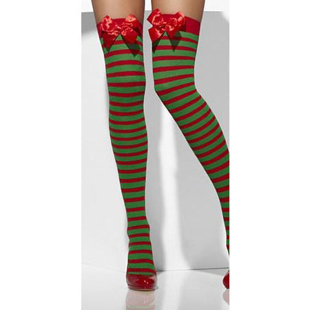 Red And Green Striped Opaque Hold Ups