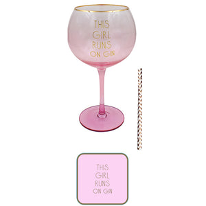 This Girl Runs On Gin Glass Set - mypartymonsterstore