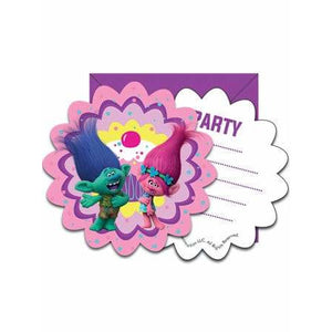 Trolls Party Invitations And Envelopes - mypartymonsterstore
