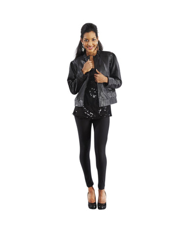 WOMEN'S LONG SLEEVE LEATHER JACKET WITH ZIPPER
