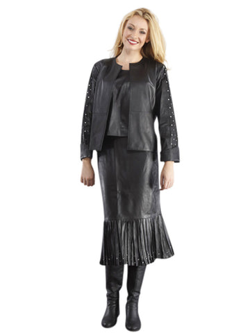WOMEN'S MODERN LONG SLEEVE LEATHER SUIT with RHINESTONES - JACKET, SKIRT and CAMISOLE
