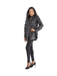 WOMEN'S BEAUTIFUL MESH LINED LEATHER JACKET - SUN PATTERN DESIGN