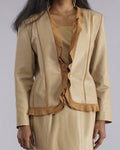 GORGEOUS SUEDE LEATHER SUITE - JACKET, LONG SHIRT and CAMISOLE