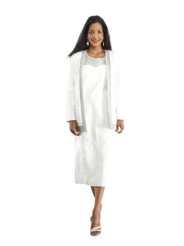 WHITE LEATHER SUIT WITH BEADWORK - JACKET and DRESS