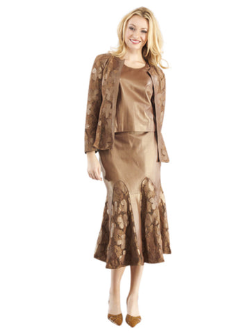 BEAUTIFUL BRONZE LEATHER SUITE WITH LACE WORK - JACKET, SKIRT and CAMISOLE